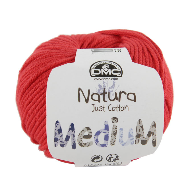 Pelote de Coton Natura Medium 50 g 55 Super red