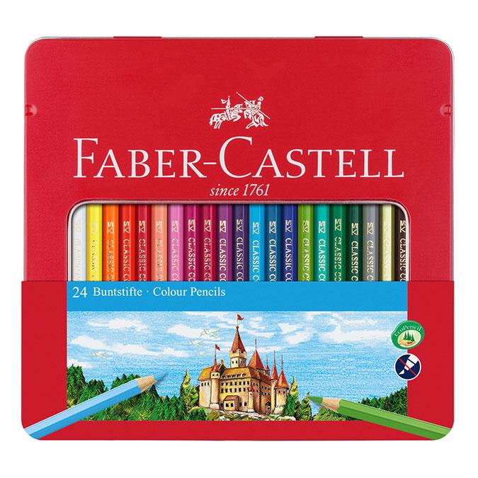 Crayon de couleur Boite Métal Château 24 pièces