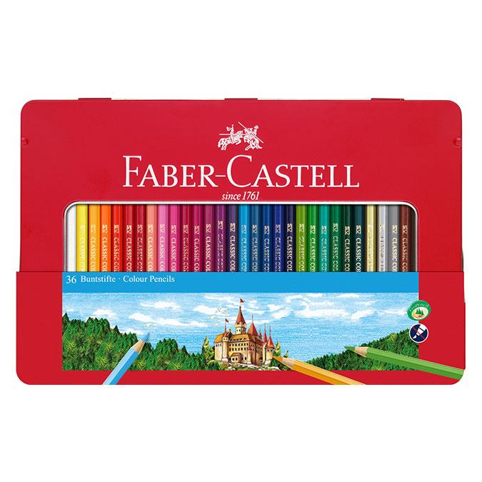 Crayon de couleur Boite Métal Château 36 pièces