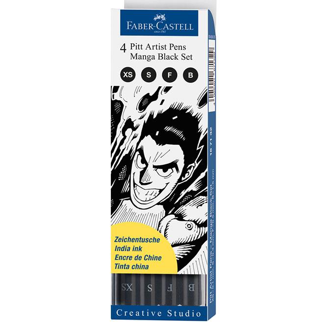 Feutres Pitt set Manga Black par 4