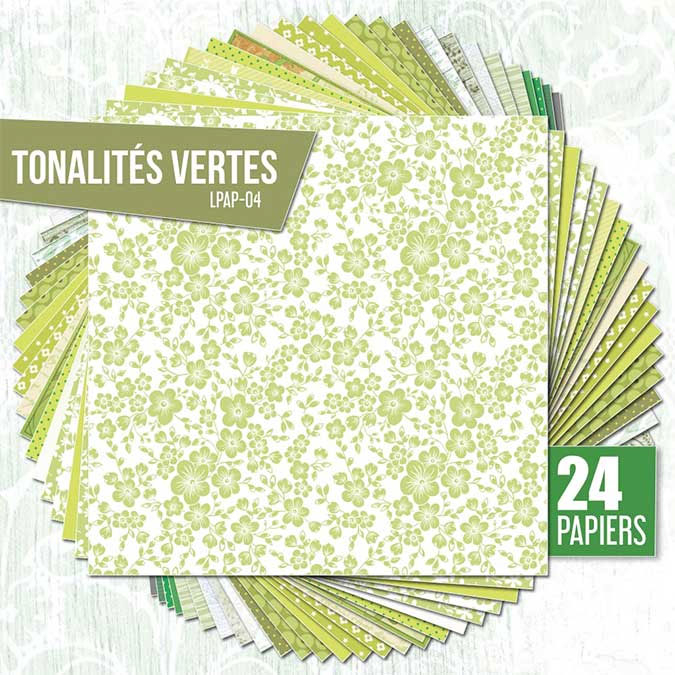 Papiers assortis Nuances de vert 24 feuilles 30,5 x 30,5 cm