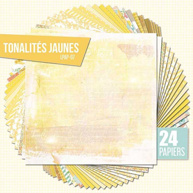 Papiers assortis Nuances de jaune 24 feuilles 30,5 x 30,5 cm
