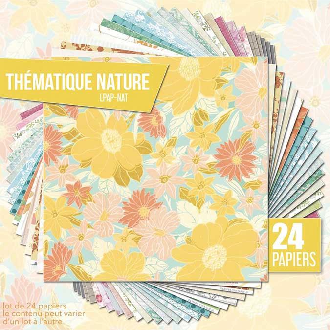 Papiers assortis Thème Nature 24 feuilles 30,5 x 30,5 cm