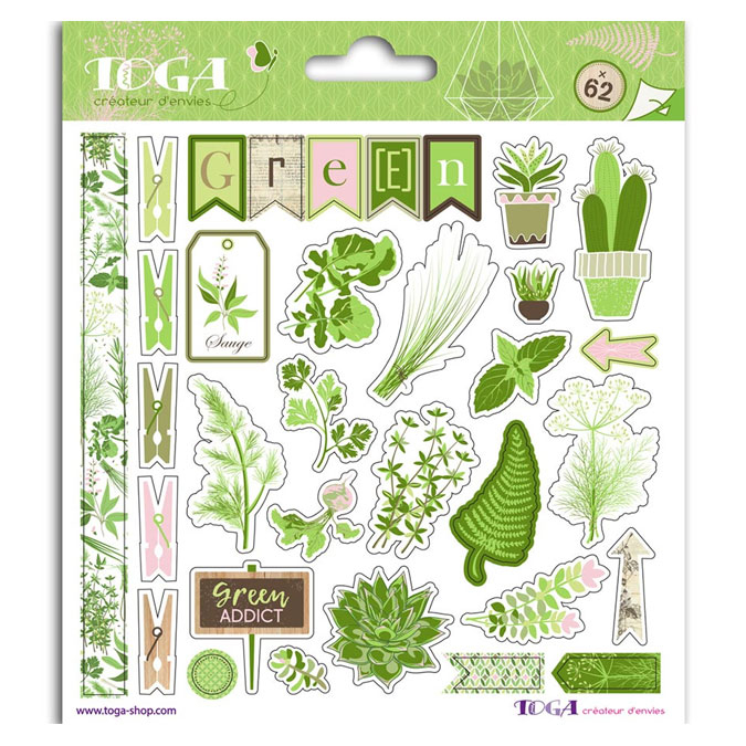 Autocollant Fantaisie Oh My Green 62 pcs