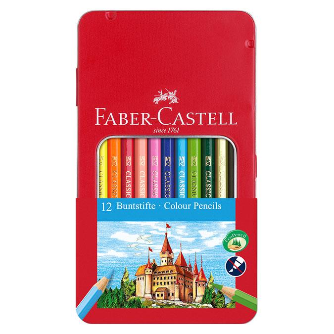 Crayon de couleur Boite Métal Château 12 pièces