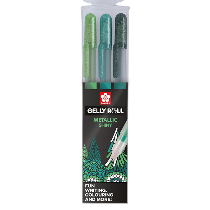 Stylo gel Gelly Roll 3 couleurs Set Metallic Forest vert
