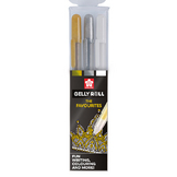 Stylo gel Gelly Roll 3 couleurs Set Metallic Or Argent Blanc