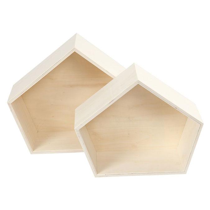 Boite en bois forme de Pentagone 22 et 26 cm 2 pcs