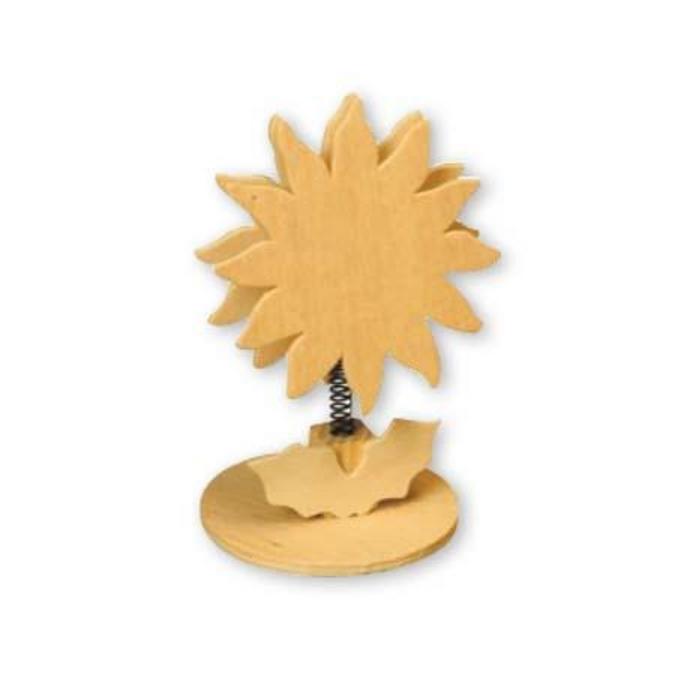 Clip mémo tournesol en bois - 18 cm