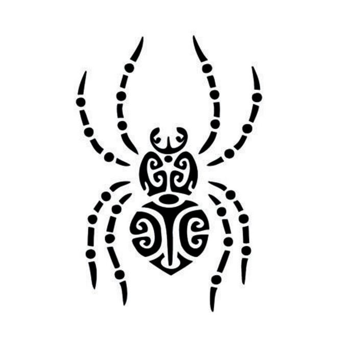 Pochoir adhésif repositionnable - Araignée Maori - 29,7 cm