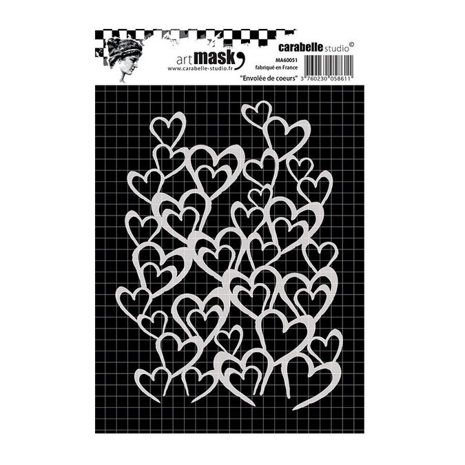 Pochoir Art Mask - A6 - Envolée de cœurs