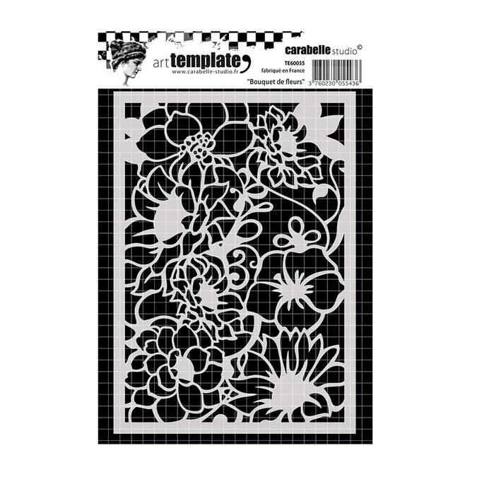 Pochoir Art template - A6 - Bouquet de fleurs