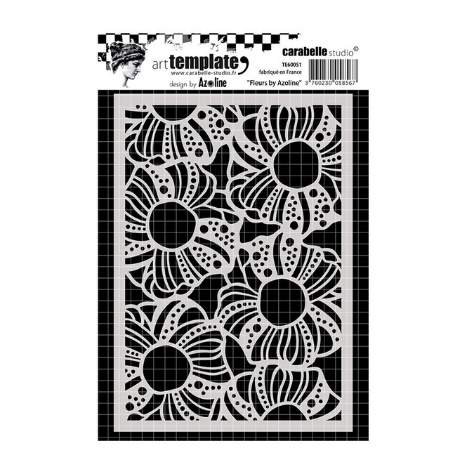 Pochoir Art template - A6 - Fleurs by Azoline