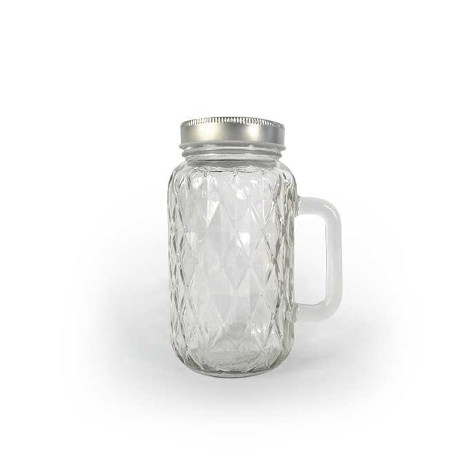 Pot en verre facetté avec couvercle et poignée - 49 cl