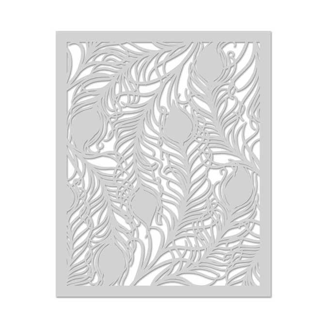 Pochoir en mylar - 16,5 cm - Plumes de Paon