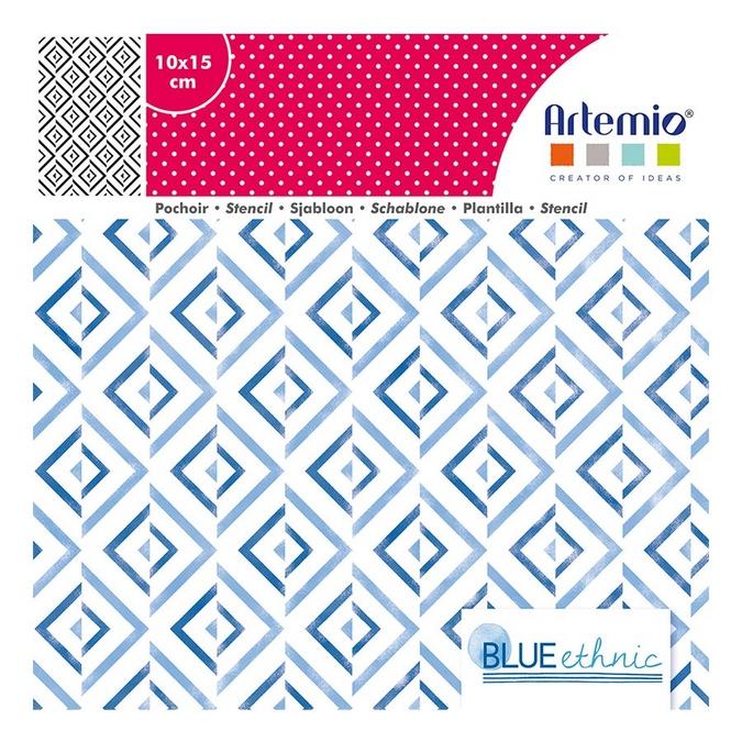 Pochoir Blue Ethnic - 10 x 15 cm - Losanges