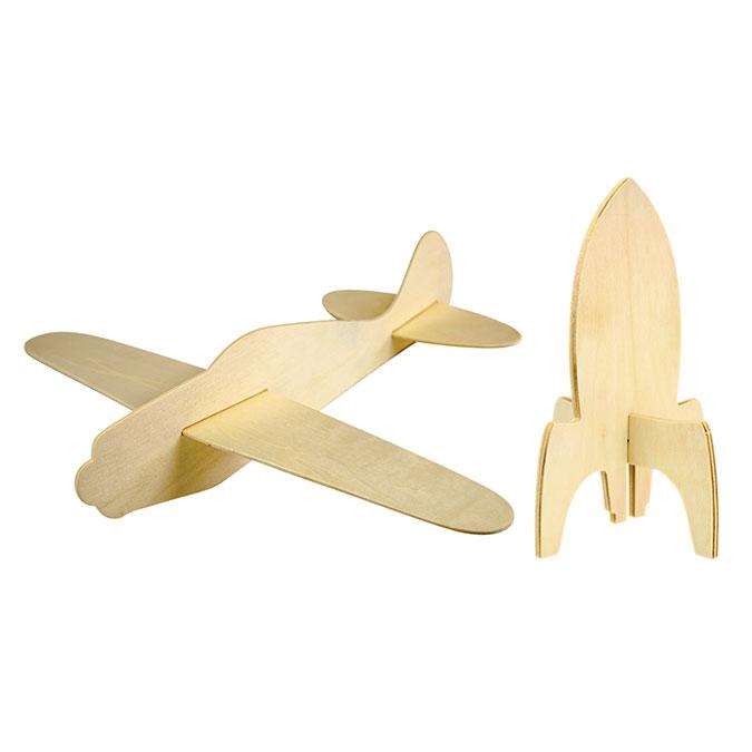Fusée et avion en bois 30 cm