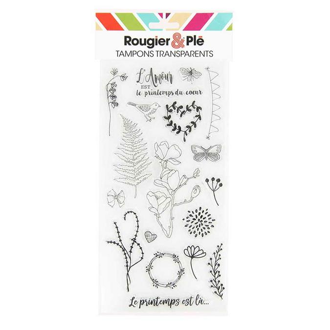 Tampons transparents thème Le printemps 18 pièces