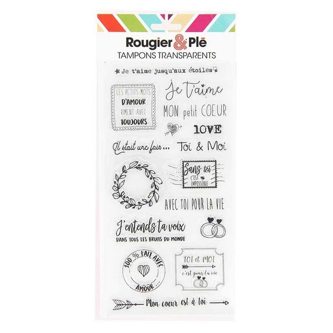 Tampons transparents thème Amour 16 pièces