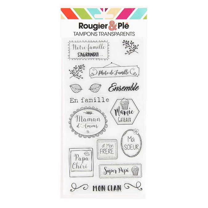 Tampons transparents thème En famille 17 pièces