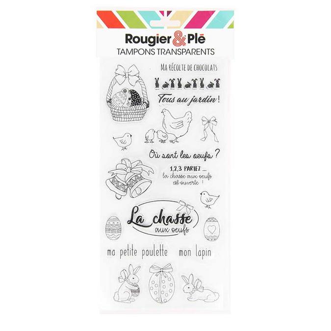 Tampons transparents thème Pâques 19 pièces