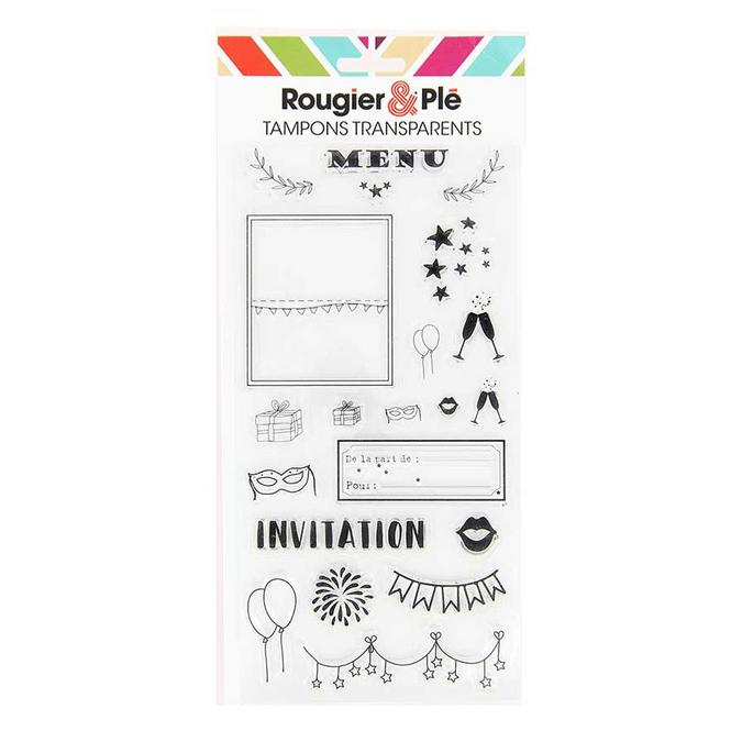 Tampons transparents thème Invitation 21 pièces