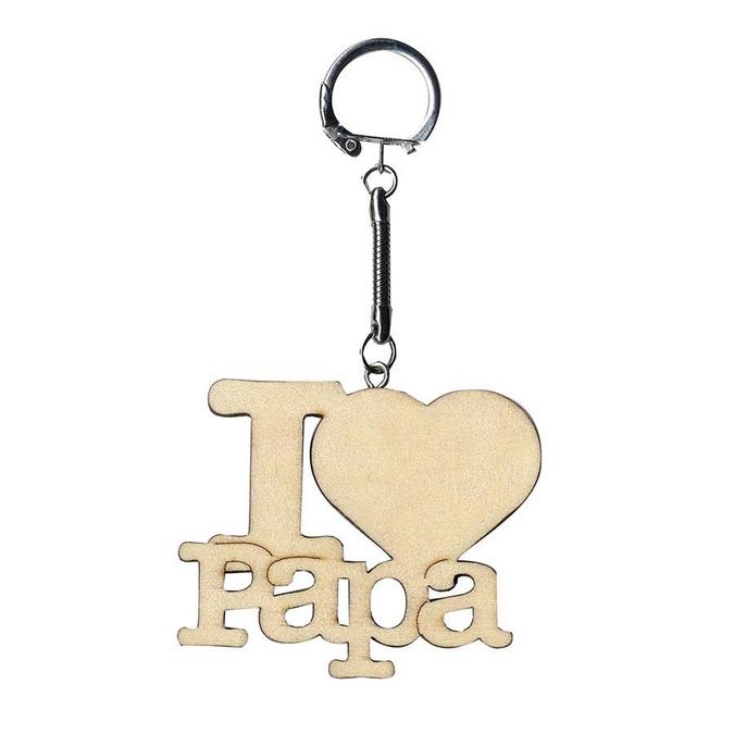 Porte-clés en bois I love Papa