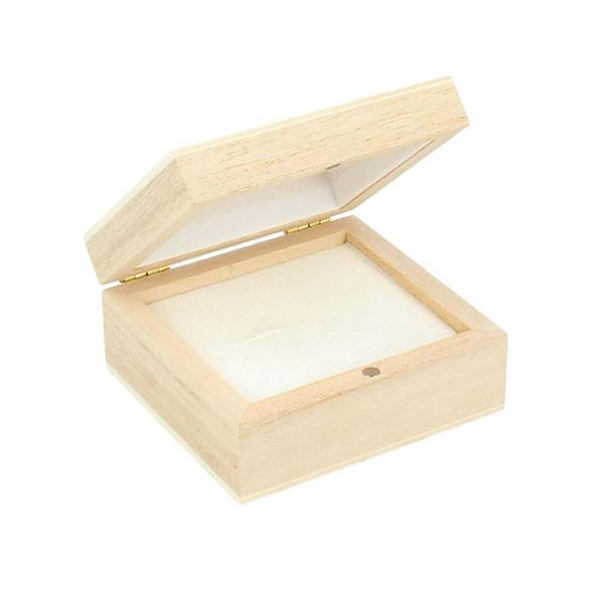 Boite en bois à boucles d'oreilles 7 x 6,5 x 3,3 cm