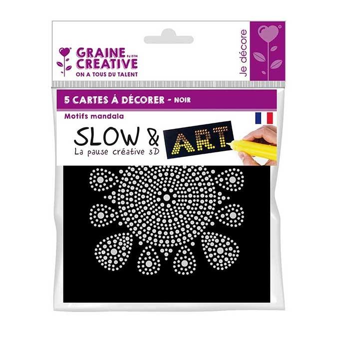 Pré-dessiné Slow & Art 5 Cartes Mandala noir