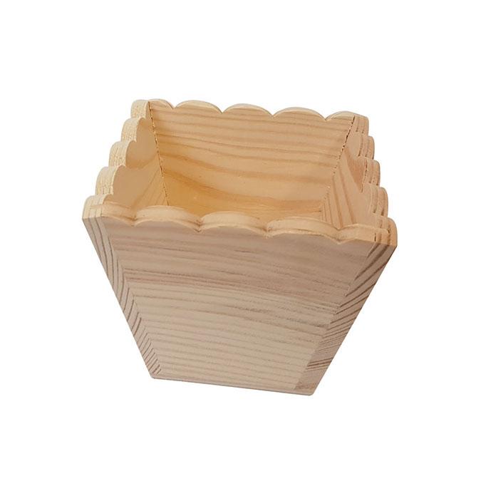 Cache-pot en bois bords ondulés 10,8 x 9 cm
