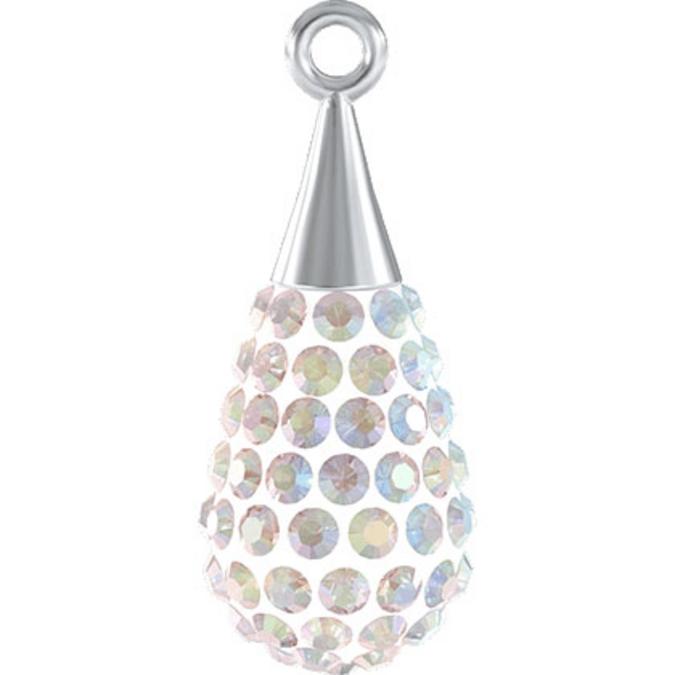 Pendentif pavé goutte argent 67563 - 20 mm - Crystal Aurore Boreale