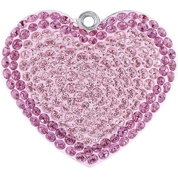 Pendentif pavé cœur 67412 - 14 mm - Rose