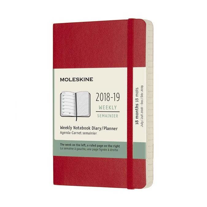 Agenda semainier 2018 - 2019 Couverture souple Rouge 9 x 14 cm