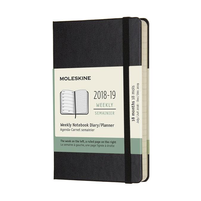 Agenda semainier 2018 - 2019 Couverture rigide Noire 9 x 14 cm