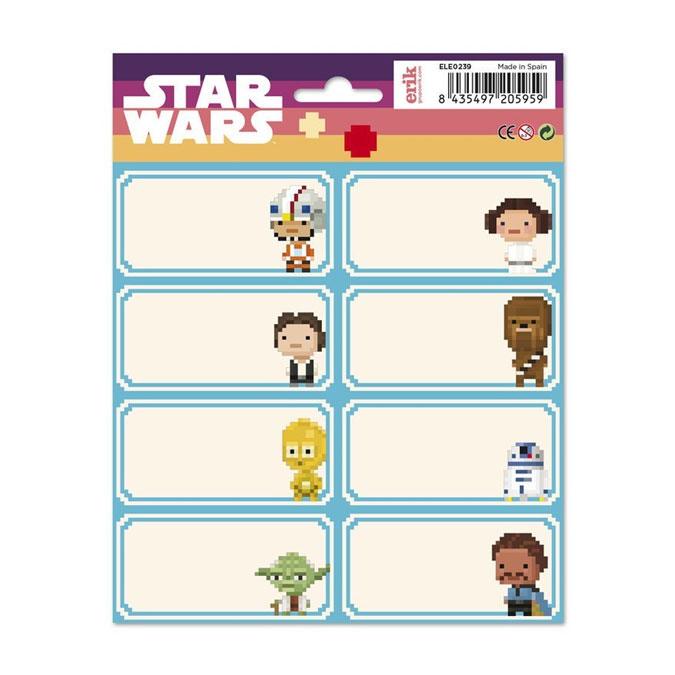 Étiquettes scolaires Star Wars Pixel Art x 16 pcs
