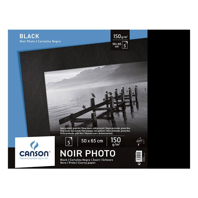 Papier Dessin noir 50 x 65 cm 150 g/m² x 5 feuilles