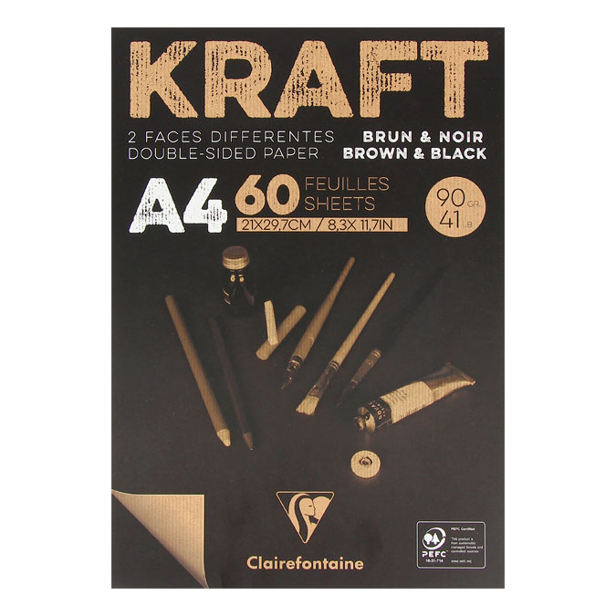 Bloc de papier Kraft Double Face marron et noir 90 g/m²