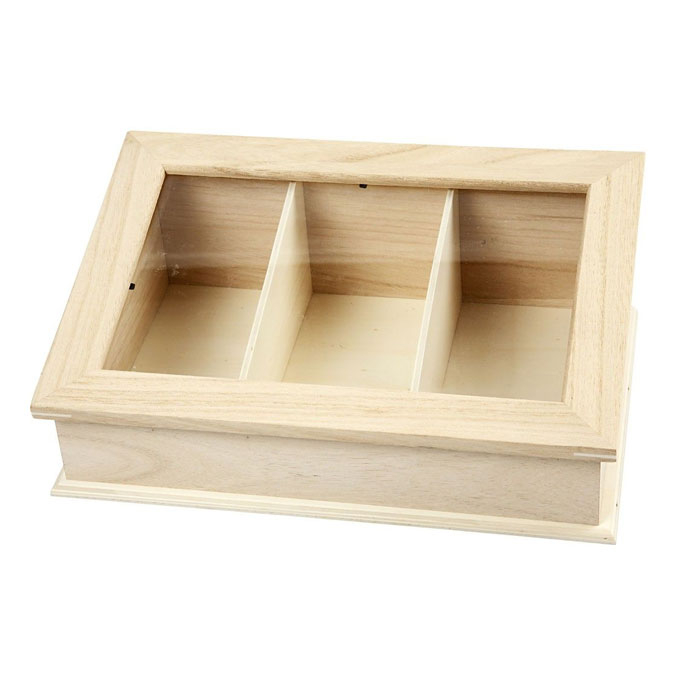 Boîte vitrine 3 compartiments 30,5 x 20 x 11,5 cm