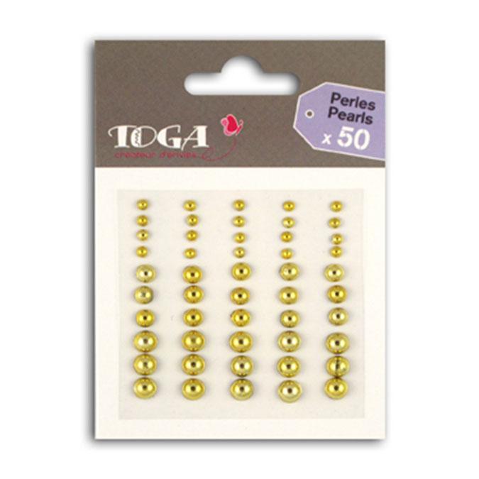 Perles adhésives Or - 50 pcs