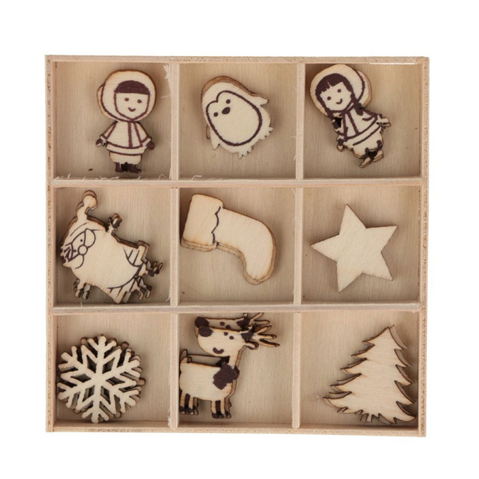 Décorations de noël Silhouettes en bois My Little Xmas - 27 pcs