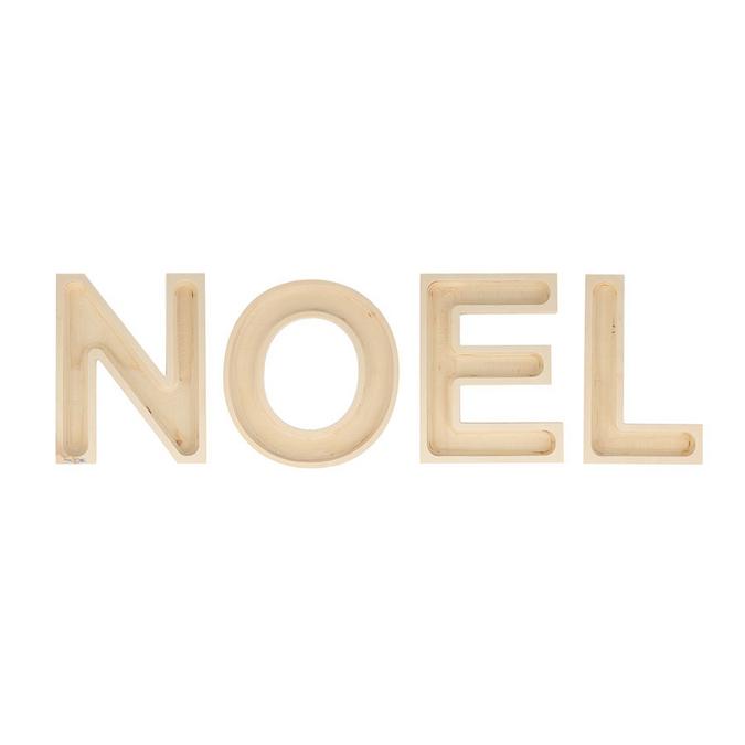 Décoration en bois mot NOËL en lettre creuses H.19 cm