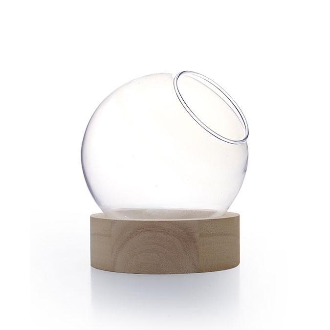 Vase globe sur socle en bois Ø 20 cm