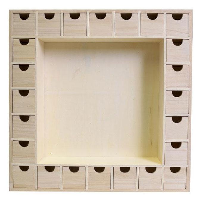 Calendrier de l'avent à personnaliser en bois 39 x 39 cm