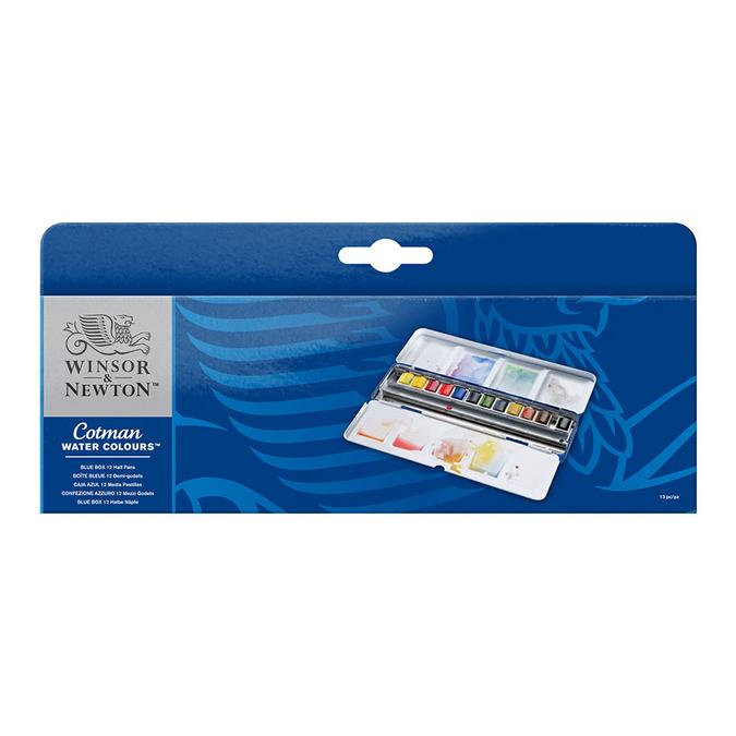 Aquarelle fine Cotman 12 demi-godets Boite Blue Box