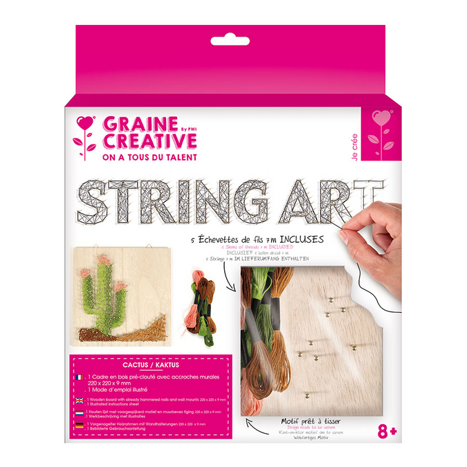 Tableau String art set Cactus support 22 x 22 cm