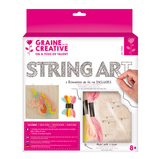 Tableau String art set Licorne support 22 x 22 cm