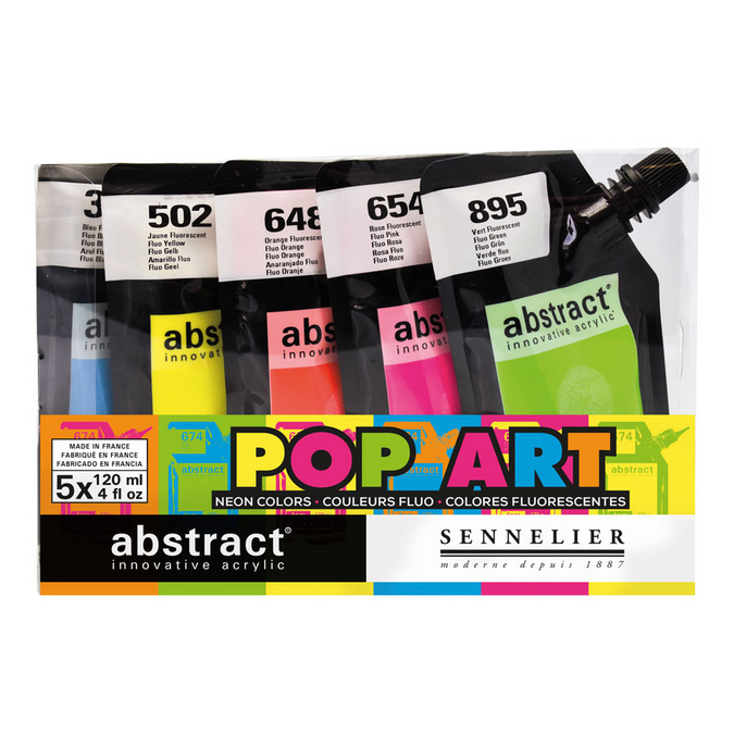 Peinture acrylique fine Abstract Set thème Pop Art 5 x 120 ml