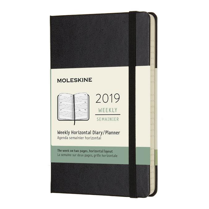 Agenda semainier horizontal 2019 Rigide noir 9 x 14 cm