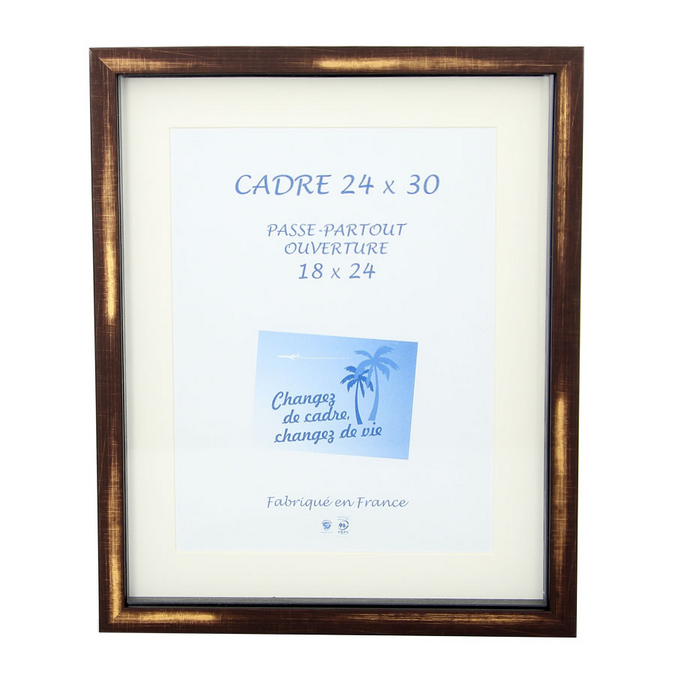 Cadre vitrine Carla Noir/Taupe Vermeil + Passe-partout
