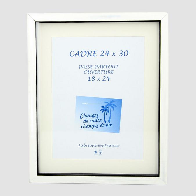 Cadre vitrine Carla Noir/Blanc Nacré + Passe-partout